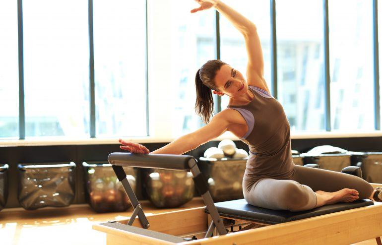Woman doing Pilates in Lincoln Park Chicago